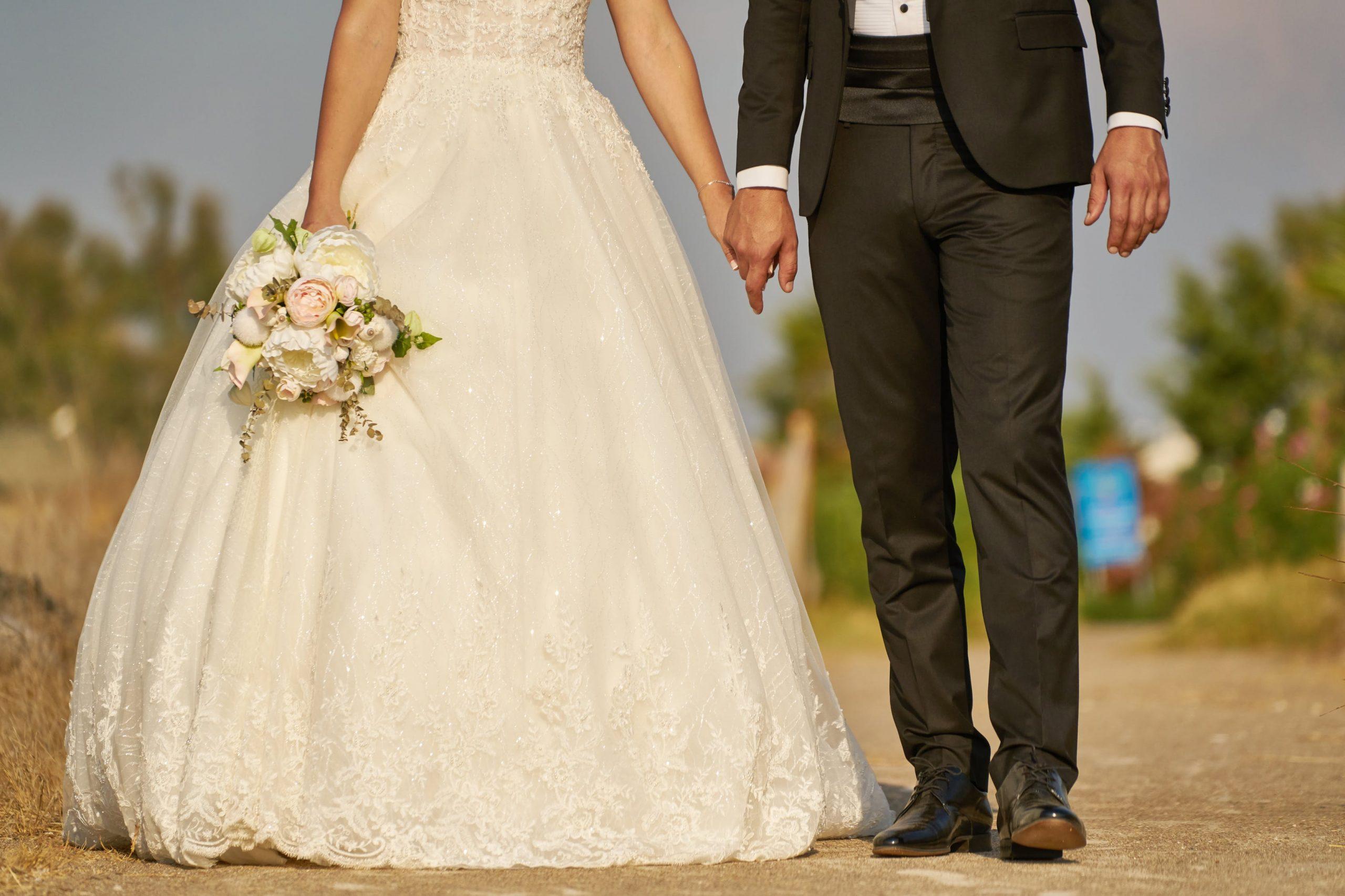 Outdoor wedding, couple walking