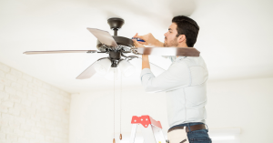 Install ceiling fans to keep mobile homes cool without air conditioners